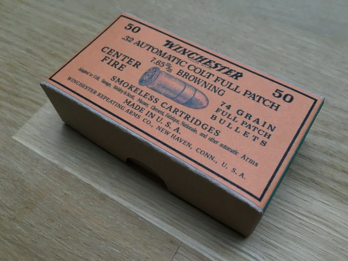 7.65 BROWNING Ammo Box Replica for 50 ammunition Winchester .32 Auto Colt