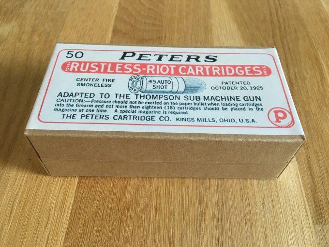 Ammo Box Peters Rustless-Riot Cartridges 45 Auto Shot Thompson Sub-Machine Gun Center Fire Smokeless khristore auction