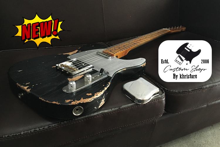 Fender-Telecaster-Custom-Shop-Heavy-Relic-by-khristore-Aged-Partcaster-1-piece-Ash-Boby-Maple-neck-Vintage-black-home-mobile